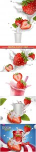 Splashing strawberry yogurt with fresh fruit in 3d illustration