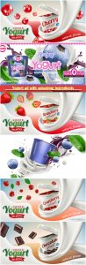 Yogurt ad with splashing ingredients behind commercial vector  in 3d illustration