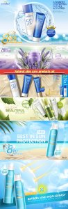 Natural skin care products ad, sunscreen spray in 3d vector illustration, summer advertising
