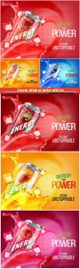Energy drink in metal with ice and juice splash advertising vector banner