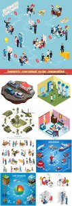 Isometric conceptual vector composition, infographics template, horizontal banners set # 17