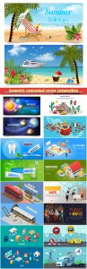 Isometric conceptual vector composition, infographics template, horizontal banners set # 16