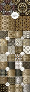 Collection of luxury seamless patterns, vector golden vintage design elements