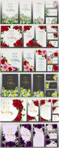 Vector wedding cards with floral design elements