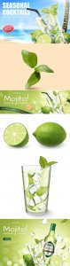 Seasonal cocktail mojito drinks, vector 3d illustration