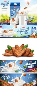 Almond milk ads, paper carton package in 3d illustration
