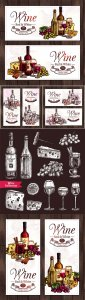Red and white wine sketch vector set