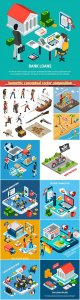 Isometric conceptual vector composition, infographics template # 25