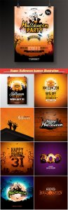 Happy Halloween banner illustration with moon, flying bats and pumpkin, vector holiday design template