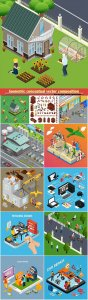 Isometric conceptual vector composition, infographics template # 39