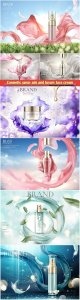Cosmetic spray ads and luxury face cream in 3d vector illustration