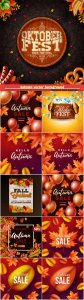Autumn vector background, party flyer, oktoberfest banner
