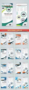 Roll up banner vector set