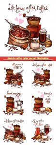 Sketch coffee color vector illustration