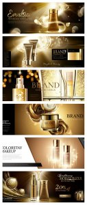 Skincare banner ads in golden color in 3d vector illustration