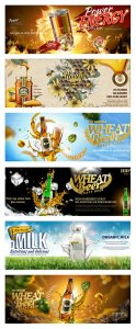 Food banner ads in 3d vector illustration