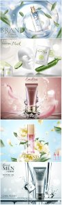Skincare banner ads in 3d vector illustration