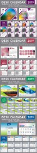 Desk Calendar 2019 vector template, 12 months included # 2