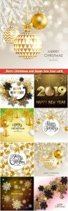 Merry Christmas and Happy New Year card with gold baubles sparkles and snowflakes
