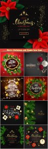 Merry Christmas and Happy New Year holiday vector design