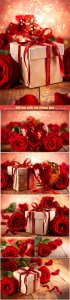 Gift box with red ribbon bow, heart and red roses