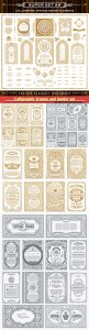 Calligraphic frames and border set, vector crest elements, ornament page divider, menu, invitations, labels