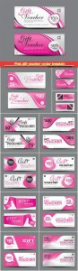 Pink gift voucher vector template, coupon design, certificate, Valentine's Day sale banner