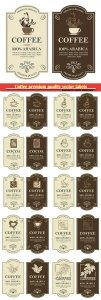 Coffee premium quality vector labels