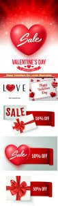 Happy Valentines Day vector illustration with love icon set