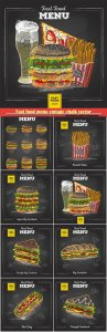 Fast food menu vintage chalk vector illustration