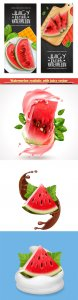 Watermelon realistic with juicy vector illustration