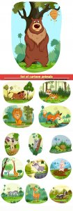 Set of cartoon animals on a white background