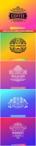 Label on color gradient vector background, vintage logo, badge